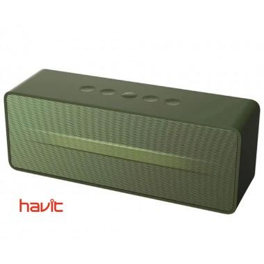 Портативная колонка HAVIT HV-M67 green с FM-радио, MicroSD Card и стереозвуком, черная (25025)