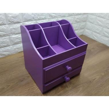 Органайзер для косметики и аксессуаров Myolanir Lux двухуровневый, с двумя ящичками, лиловый