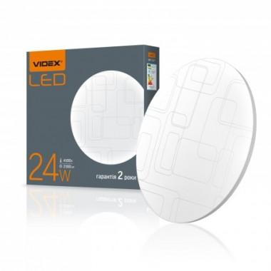 Светодиодный акриловый круглый настенно-потолочный светильник VIDEX 24W 4100K 220V Прямоугольники