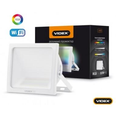 Многоцветовой Smart прожектор светодиодный VIDEX VL-F10RGB-W с Wi-Fi полифункциональный ударопрочный влагозащищенный 10W Wi-fi 3000-6500 220V (25537)
