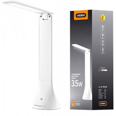 Светодиодная настольная лампа VIDEX VL-TF01 3.5 W 4100K 5V с аккумулятором и регулировкой яркости света (24711)