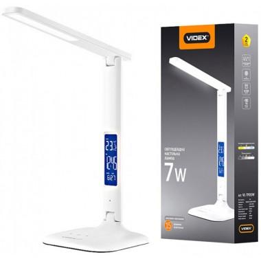 Светодиодная настольная лампа VIDEX VL-TF05W 7W 3000-5500K 220V с регулировкой температуры света, термометром, часами, календарем и будильником