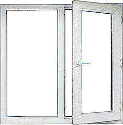 Окно KBE 70 двухстворчатое 1,2м * 1,4м двухкамерный стеклопакет