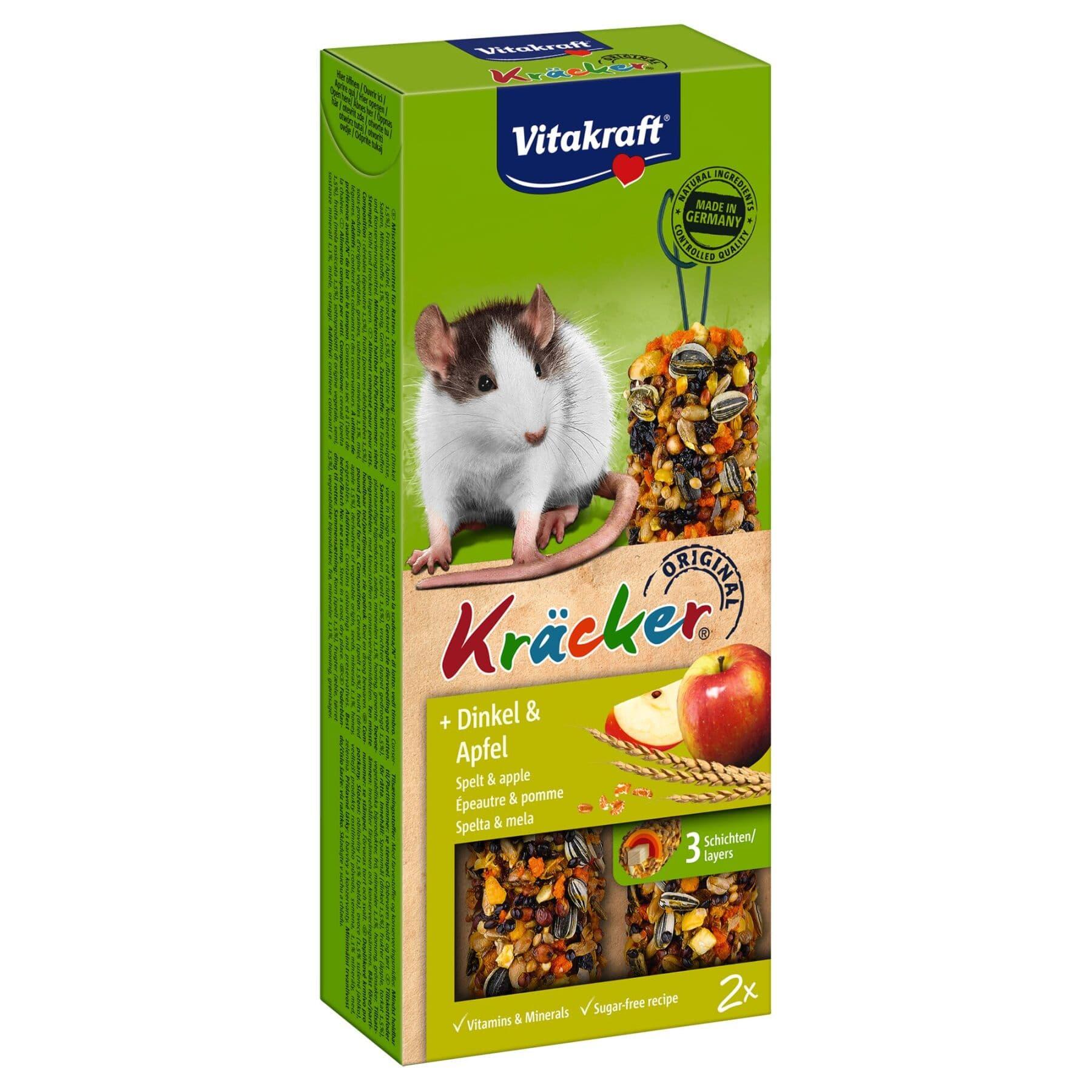 Повседневные лакомства для крыс Vitakraft «Kracker Original + Spelt & Apple» 112 г / 2 шт. (спельта и яблоко)
