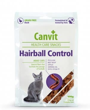 Полувлажные функциональные лакомства Canvit Hairball Control для профилактики формирования и выведения комков шерсти у котов 100г
