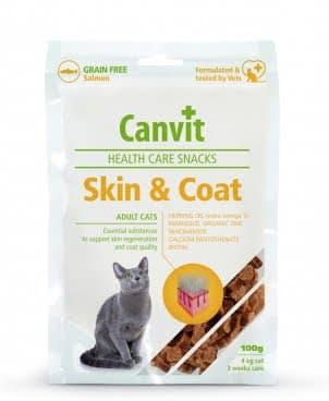 Полувлажные функциональные лакомства Canvit Skin and Coat для красоты, здоровья и блеска шерсти у котов 100г