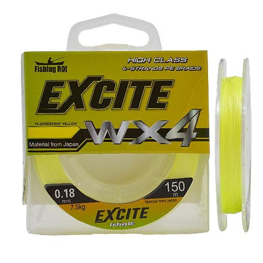Шнур Fishing ROI Excite WX4 150м 0,23мм 11.5кг цвет-fluorescent yellow