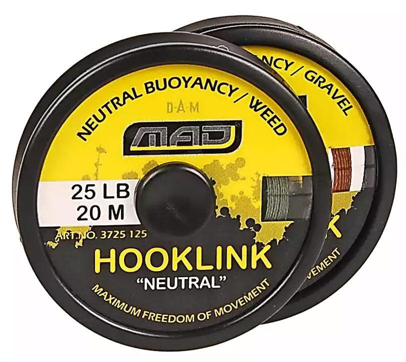 "Шнур поводочный DAM MAD Hooklink 4-braid ""Neutral"" 20м 25lb (color-weed)"