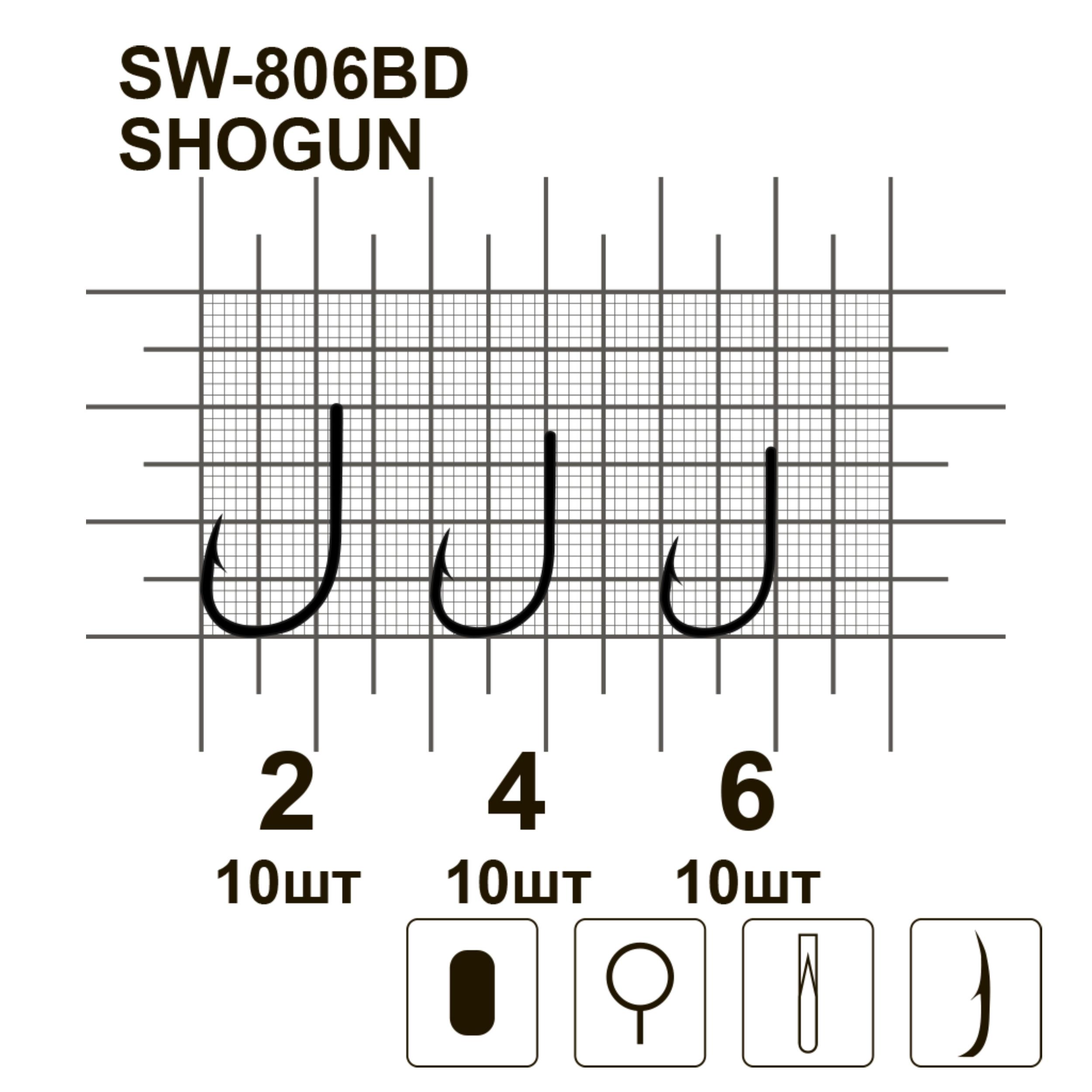 Крючки MiniMax Shogun SW-806BD  # 2 BLN 10шт. ring