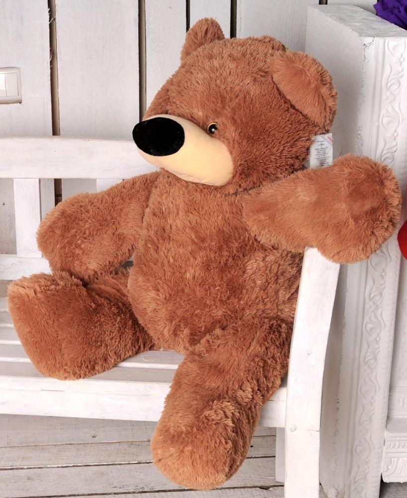 Мягкая игрушка медведь сидячий «Бублик» 70 см. Коричневый